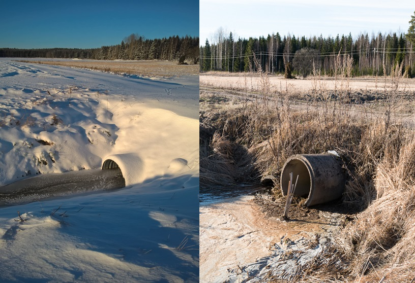 Culvert structure before and after the renovation. Photo on the right, initial situation: tree culverts of which the lowest is under water, the upper part of the middle culvert is visible and overflow culvert is totally dry.